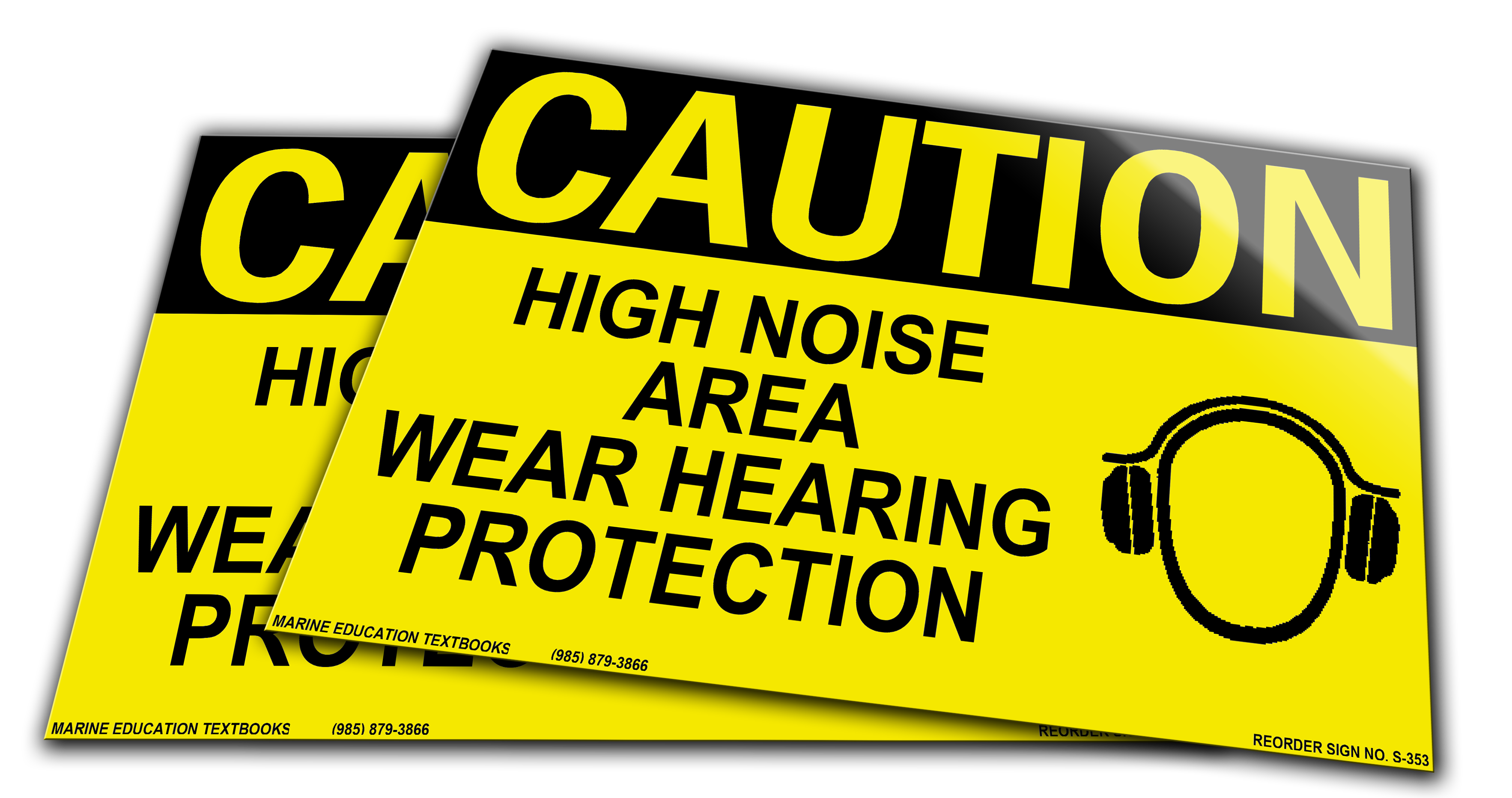 CAUTION High Noise Area Wear Hearing Protection. (10 x 7) YELLOW/BLACK W/Picture