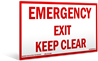 S-17 Emergency Exit Keep Clear. (18 x 9.75)