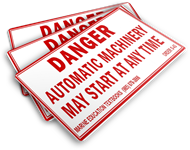 Danger. Automatic Machinery May Start at Any Time. [See also S-W6.] (4.5x1.25)