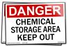 Danger - Chemical Storage Area Keep Out.  10w x 7 h Red/Black on White Vinyl