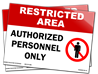 Restricted Area Authorized Personnel Only (w/picture) vinyl adhesive  14 x 10