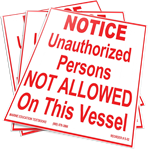 S-02 Notice. Unauthorized Persons Not Allowed On This Vessel (7.0x5.25)